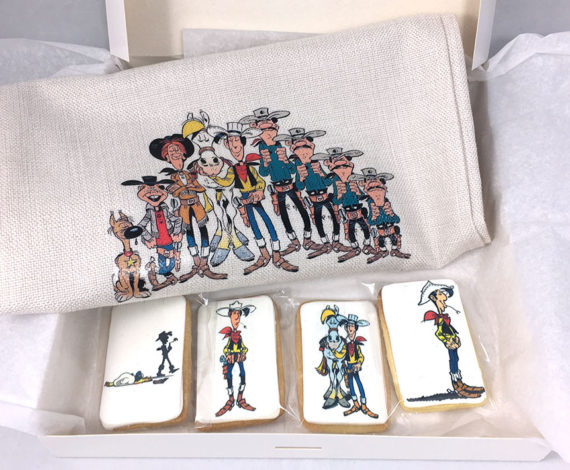 Caja regalo Tote bag y galletas Lucky Luke
